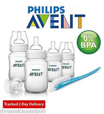 Philips Avent Classic+ Newborn Starter Set SCD371/00 Baby Bottles Brush Pacifier