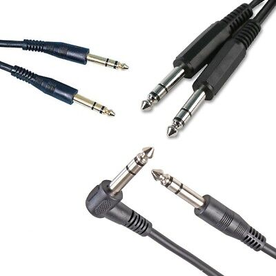 "6.35mm Stereo Jack to Jack Cable 1/4"" 6.3mm Lead 1m 1.5m 2m 3m 5m 10m"