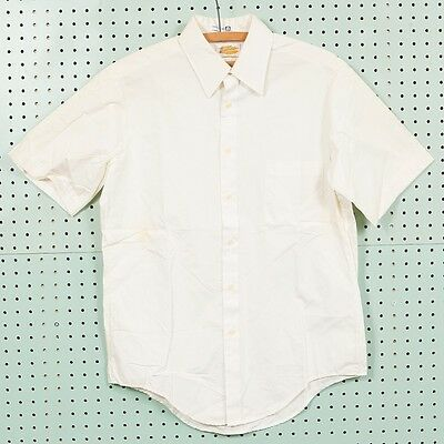 Vintage White Armstrongs Short Sleeve Dress Shirt Size 15.5 USA Made Cotton