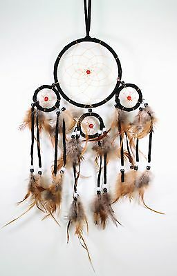 Black Handmade Dream Catcher With Feathers Wall Hanging Decoration Ornament Gift