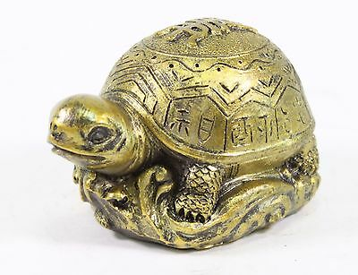 "3"" Gold Feng Shui Lucky Turtle Statue Figurine Paperweight Gift Home Decor"