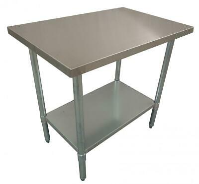 762 x 915mm FULL #430 STAINLESS STEEL COMMERCIAL FOOD PREP OFFICE BENCH TABLE