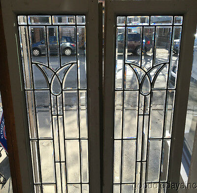 "2 of 4 Vintage Beveled Glass Doors / Sidelights Window from Chicago 72"" x 18"""