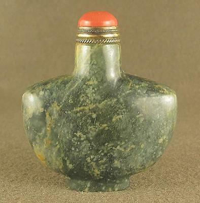 Fantastic Chinese Jade Snuff Bottle With Red Coral Top Lid