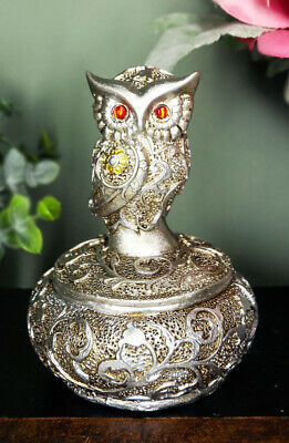 Silver And Bronze Colored Ancient Owl With Red Gem Eyes Jewelry Box Figurine