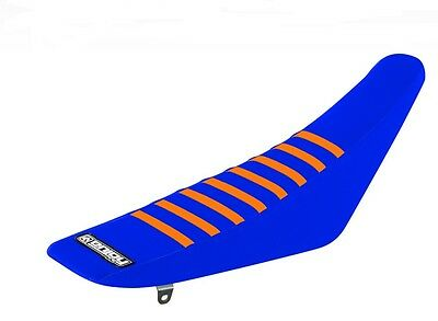 Ribbed Gripper Seat Cover to fit KTM SX / SXF 2011 - 2015 Blue Orange Motocross