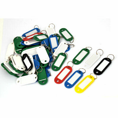 Bag Luggage Plastic Name ID Card Key Labels Tags 50 Pcs Mixed Color w Keyring