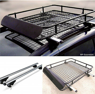 Locking Aluminium 135cm Roof Rail Bars & Car Rack Tray for Ford Tourneo Courier