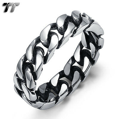 Quality TT 316L Stainless Steel 5mm Hard Curb Chain Band Ring Size 6-13 (RZ151)
