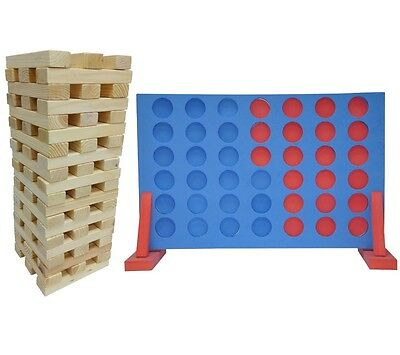 Giant Jenga & Large Connect 4 In A Row Garden Game Set Outdoor Games Bbq & Party