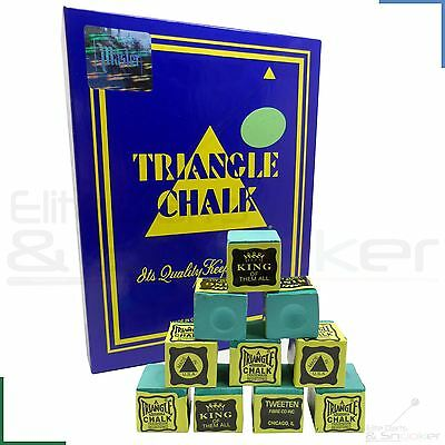 12 Cubes Green Triangle Snooker Pool Billiards Cue Tip Tournament Chalk