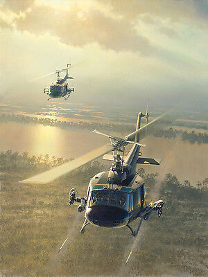 """Rolling on the River"" William S Phillips Giclee Canvas - Bell UH-1 Iroquois"