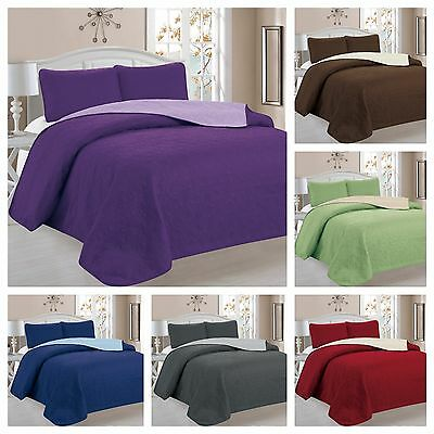 3 Piece Victoria Reversible Quilt Bedspread Coverlet Set - Available in All Size