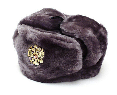Russian Authentic Ushanka Gray Military Hat With Imperial Eagle Emblem 82d0adc9c28