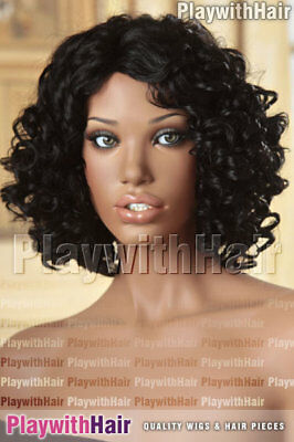 Bouncy Curly HUMAN HAIR BLEND Wig Soft Black - Heat OK!