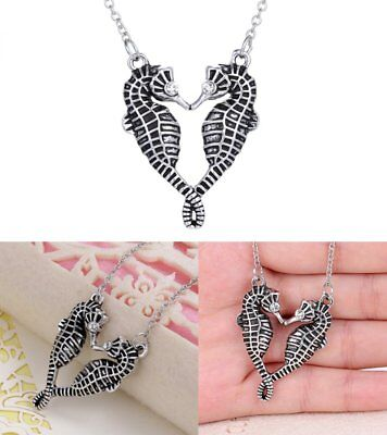 Silver Fashion Sea Horse Pendant necklace Women Jewelry Party Gift New Chain Hot