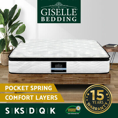 Giselle Bedding Queen Mattress Double King Single Bed Pocket Spring Foam