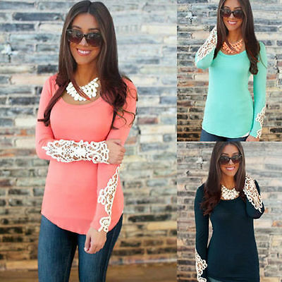 Sexy Fashion Ladies Womens Summer Lace Sleeve Casual Shirt Blouse T Shirt Tops