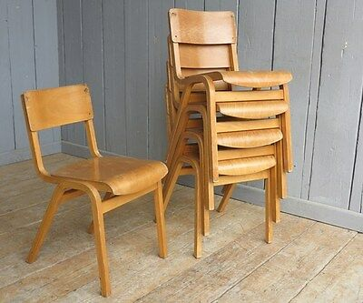 Industrial Wooden Reclaimed Stacking Church Chairs or Chapel Chairs - Vintage