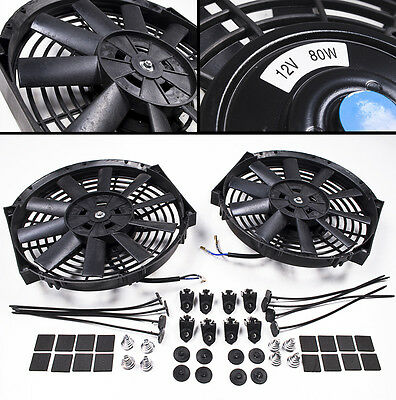 "Universal 2 X 14"" Electric Engine Radiator Fans With 2 X Fitting Kit Straight"