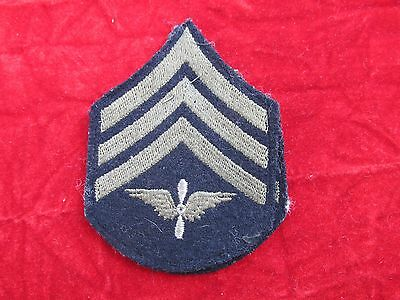 WW2 Aviation Sergeant Sgt rank Insignia matched pair on wool w/ store tag AAF