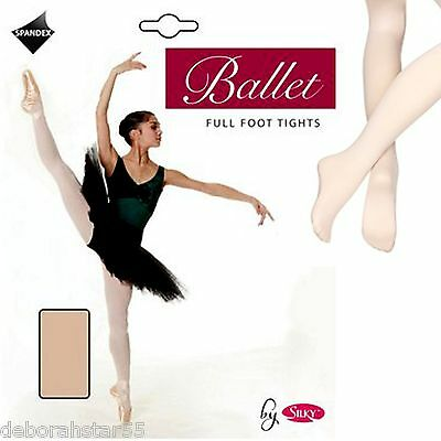 2 Pairs Silky Girls Childrens Full Foot Footed Spandex Ballet Dance Tights 4-13