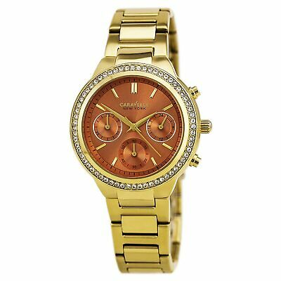 Caravelle 44L218 Lady's Orange Dial Yellow Steel Chronograph Watch