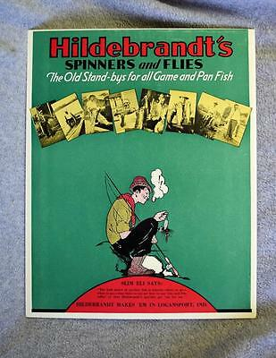 Vintage Hildebrandt Spinners and Flies Slim Eli Table Top Stand-up Poster MINT