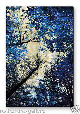 Metal Wall Sculpture Abstract Trees Painting USA Made Home Decor Blue Silver