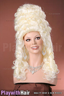 Colonial Powdered Beehive Wig White Platinum Blonde