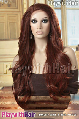 LUXURY Tousled Wig LACE FRONT Auburn Red Tips