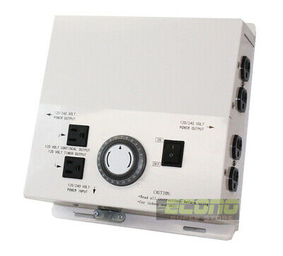 120v 240v Electric Box w/ 8 Outlet HID Light  24hour Timer Controller hydroponic