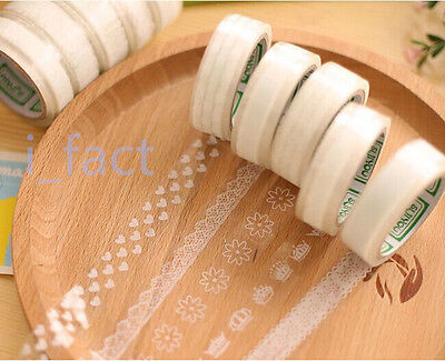 2x Transparent 1.5cm×10M DIY Paper Sticky Adhesive Sticker Decor Lace Washi Tape