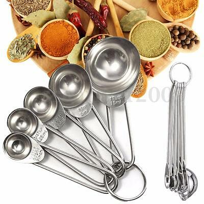 5pcs Kitchen Stainless Steel Measuring Spoon Cup Tea Coffee Cooking Baking Scoop