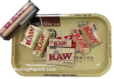 RAW Rolling Paper BUNDLE 1 1/4+1 1/2 ORGANIC HEMP+CLASSIC+79mm ROLLER+TIPS+TRAY
