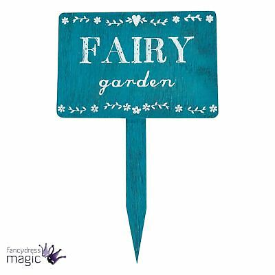 Sass & Belle Blue Rustic Floral Shabby Chic Secret Fairy Garden Stake Sign Gift