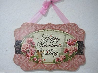 Vintage Style Valentines Day Shabby Chic Cupid Hanging Sign Decor
