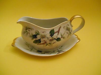 Vintage Meito Norleans Livonia Dogwood Gravy Boat and Dish  Occupied Japan