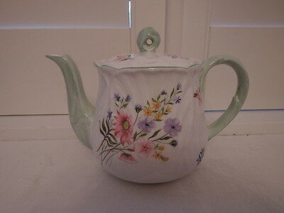 Rare!Vintage Shelley Wild Flowers Oleander Bone China Teapot Green Accents 13668