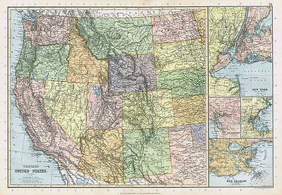 UNITED STATES OF AMERICA Western States - Antique Map 1895 by Blackie