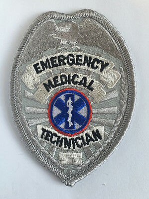 EMT Emergency Medical Technician Badge Shield Uniform Hat Shirt Patch Silver