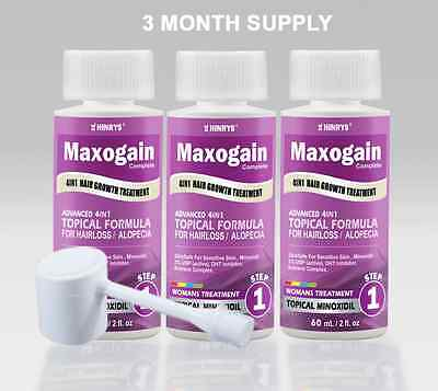 4in1 Minoxidil 2% Maxogain Womans Topical Hair loss Treatment / 3 Month Supply