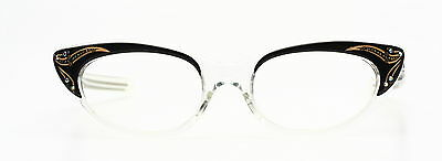 Vintage 1950s cateye eyeglasses by Selecta Margaret Decor black, clear + strass
