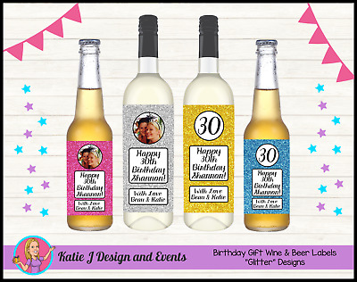 ** PERSONALISED GLITTER BIRTHDAY WINE BOTTLE LABELS 18th 21st 30 40 50 GIFTS **
