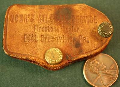 1940-50s East Greenville,Pennsylvania Atlantic Oil gas station leather keychain!