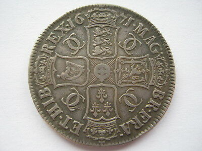 1671 Charles II Crown , VF. ESC 42. ACS