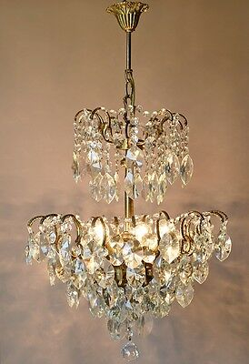 1940's Lustre Antique Vintage French Lead Crystal Chandelier Home Lighting Lamp