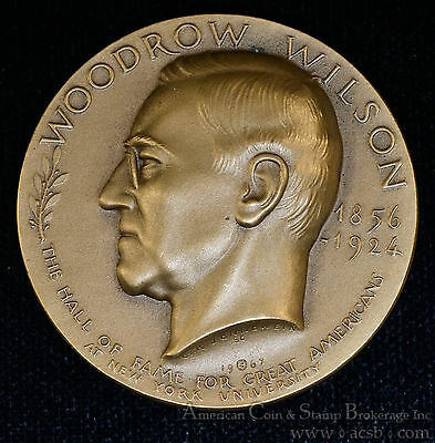 Woodrow Wilson 1.75in hall of fame great americans Medal Medallic Art Co.