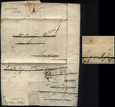 """1779 ISLE OF/WIGHT p/m Letter wrapper from the MAN OF WAR """"TERRIBLE"""" at Cowes."""