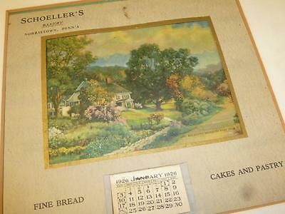 Vintage 1926 SCHOELLER'S BAKERY NORRISTOWN PA Advertising Wall CALENDAR Matted
